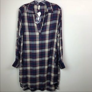 Elan Plaid Tunic Blouse Oversized S